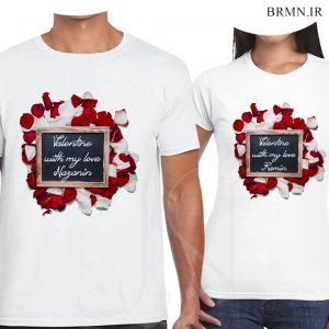 تیشرت ست ولنتاین و گل و عشق